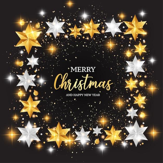 Merry christmas achtergrond met sterren frame Gratis Vector