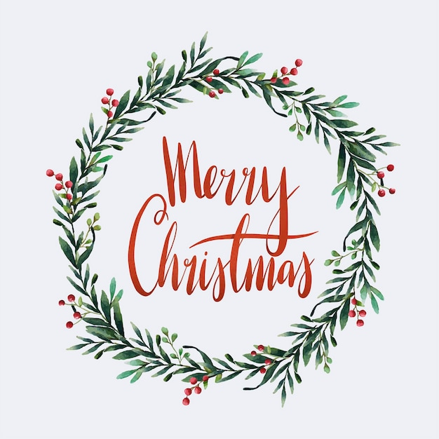 Merry christmas aquarel typografie Gratis Vector