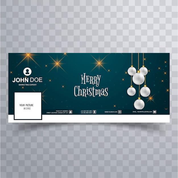Merry christmas bal facebook banner sjabloon achtergrond Premium Vector
