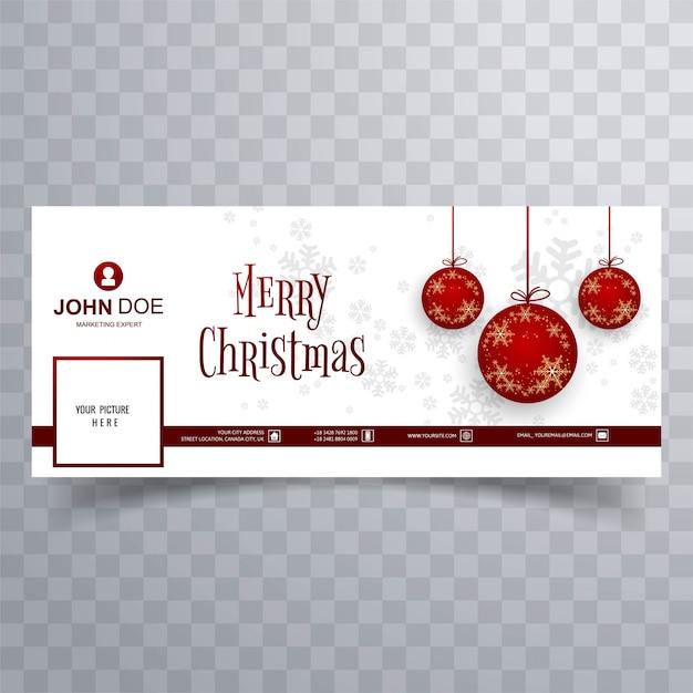 Merry christmas bal facebook banner sjabloon achtergrond Gratis Vector