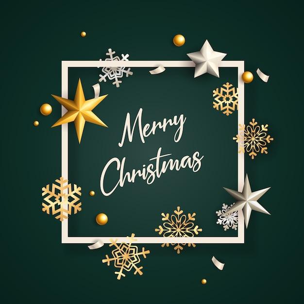 Merry christmas banner in frame met vlokken op groene grond Gratis Vector