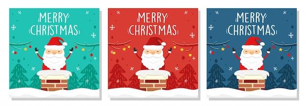 Merry christmas banner square santa claus in de schoorsteen Premium Vector