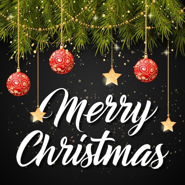 Merry En: Merry Christmas Belettering En Kerstballen Vector