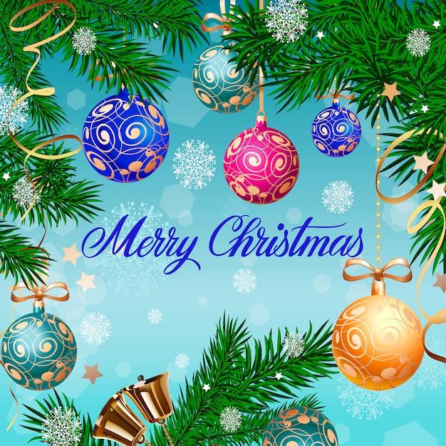 Merry En: Merry Christmas Belettering En Klokken Vector