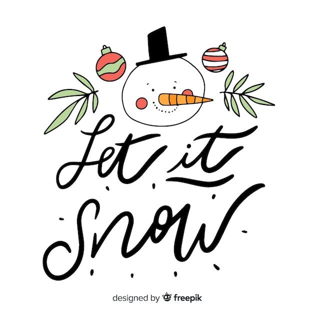 Merry christmas belettering met sneeuwpop Gratis Vector