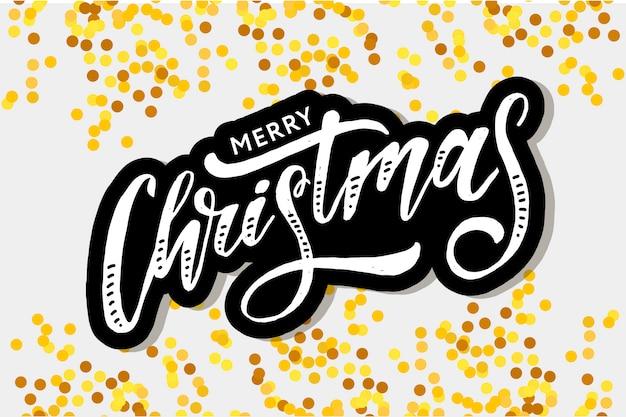 Merry christmas belettering voor wenskaart Premium Vector