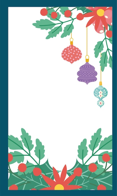 Merry christmas bloemen poinsettia gebladerte takken kaart Premium Vector