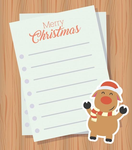 Merry christmas brief met schattige rendieren karakter Gratis Vector