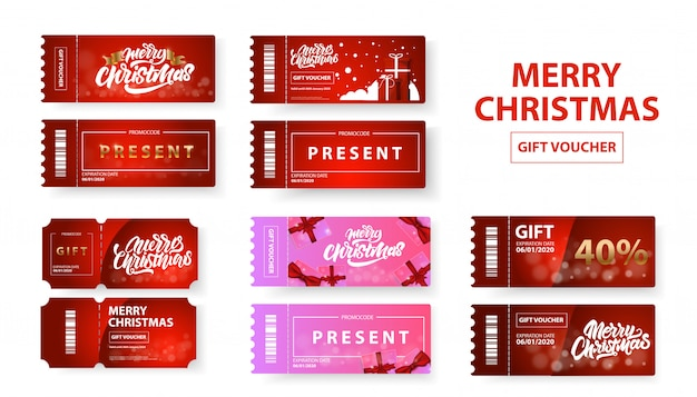 Merry christmas cadeaubon set Premium Vector