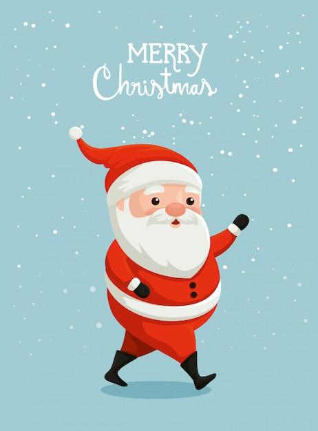 Merry christmas card met de kerstman Gratis Vector