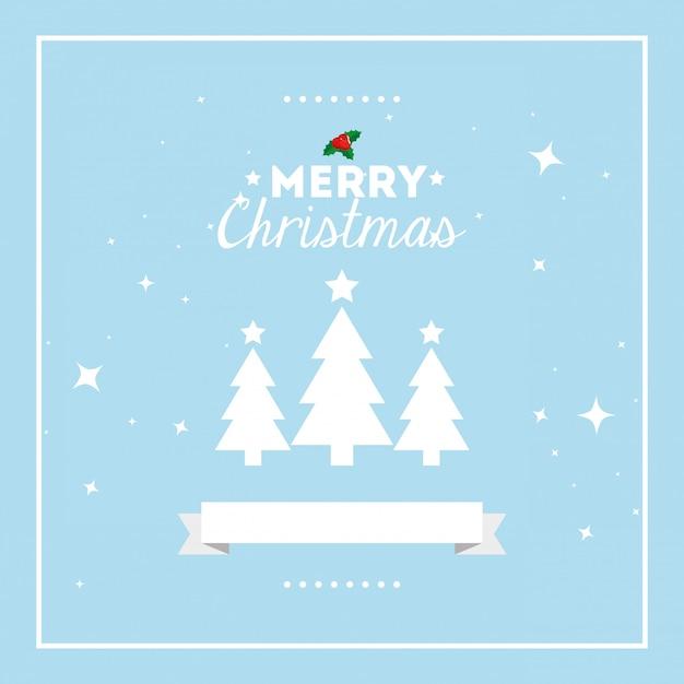 Merry christmas card met pijnbomen en lint Gratis Vector