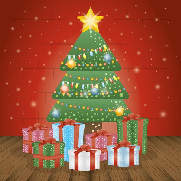 Merry christmas card met pijnboom en geschenken Gratis Vector