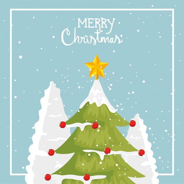 Merry christmas card met pijnboom Gratis Vector
