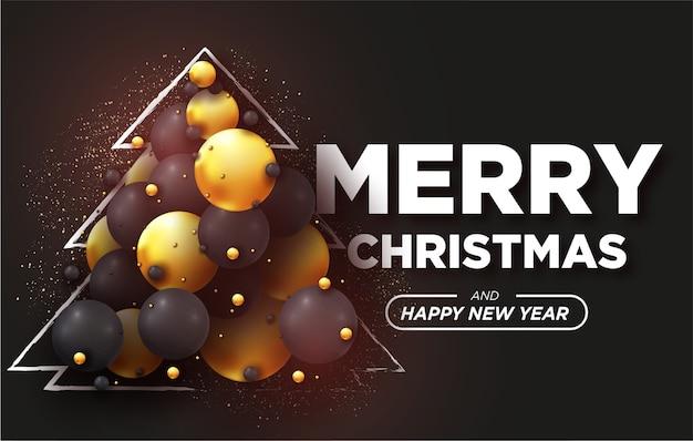Merry christmas card met realistische 3d-ballen achtergrond Gratis Vector