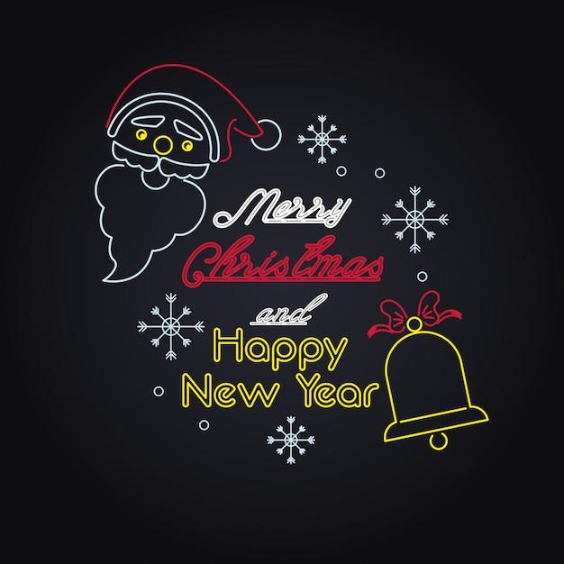 Merry christmas card neonlichten Premium Vector