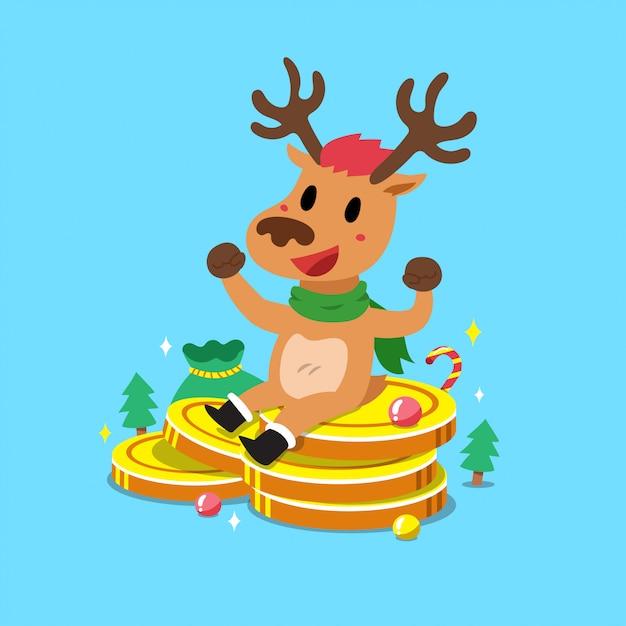 Merry christmas cartoon rendieren met grote geld munten stapel Premium Vector