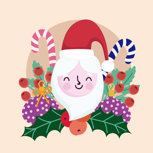 Merry christmas cute santa candy canes holly berry decoratie Premium Vector