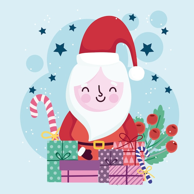 Merry christmas cute santa geschenkdozen snoep en holly berry Premium Vector