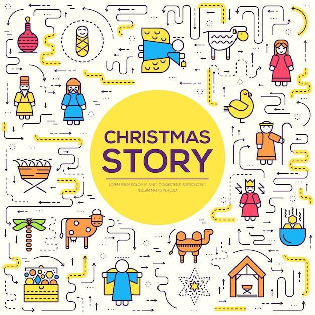 Merry christmas dunne lijn pictogrammen instellen achtergrond. overzicht geboorte van christus afbeelding achtergrond Premium Vector