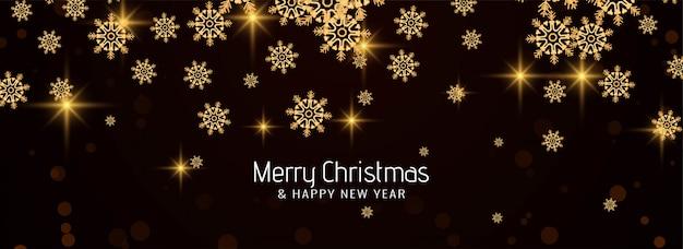 Merry christmas elegante sneeuwvlokken banner Gratis Vector