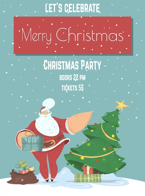 Merry christmas eve evening party poster of sjabloon folder Premium Vector