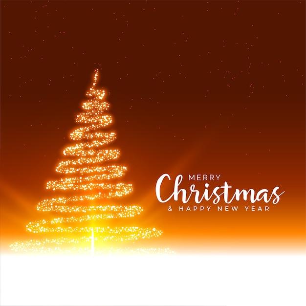 Merry christmas festival groet met sparkles gloeiende boom Gratis Vector