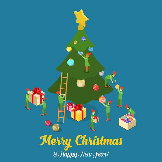Merry christmas gelukkig nieuwjaar isometrische vector illustratie kaart Gratis Vector