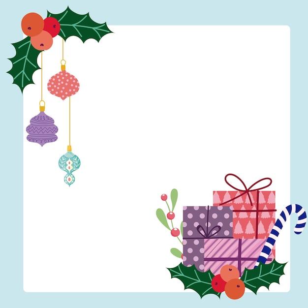 Merry christmas gift boxes candy cane en hangende ballen kaart Premium Vector