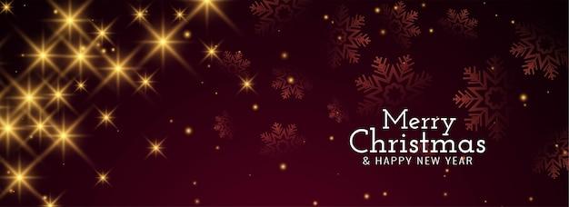 Merry christmas glanzende sterrenhemel banner Gratis Vector