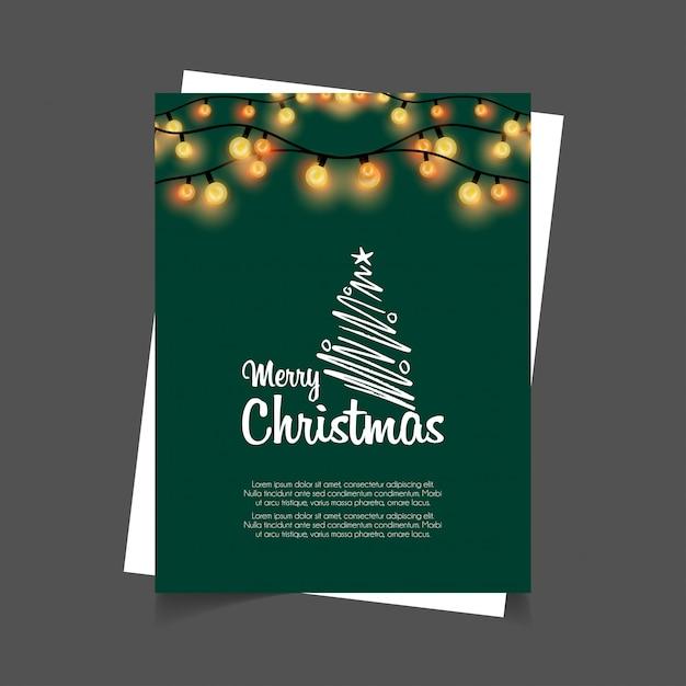 Merry christmas gloeiende lichten groene achtergrond Gratis Vector