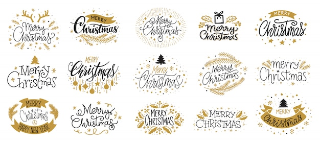 Merry christmas goud zwart belettering tekst, xmas wenskaart, nieuwjaar wensen banner. Premium Vector
