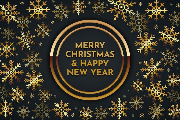 Merry christmas gouden belettering achtergrond Gratis Vector