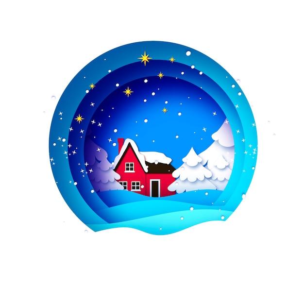 Merry christmas greetings card met prachtig landschap en kerstboom. kerstvakantie. gelukkig nieuwjaar. rood landhuis. blauw. Premium Vector