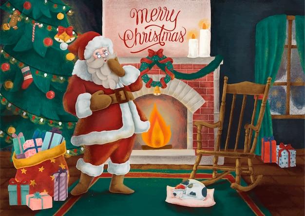 Merry christmas hand getrokken kaart Gratis Vector