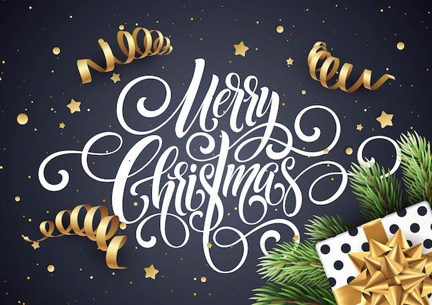 Merry christmas handschrift script belettering, kerst felicitatie kaart Premium Vector
