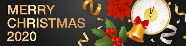 Merry christmas horizontale banner met klok Gratis Vector