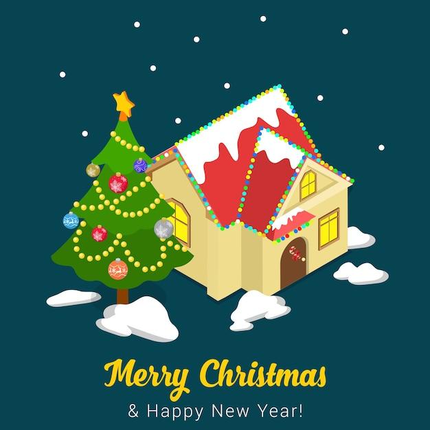Merry christmas illustratie Premium Vector