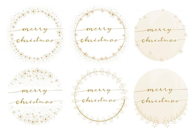Merry christmas kalligrafie op gouden paardebloem krans collectie Premium Vector