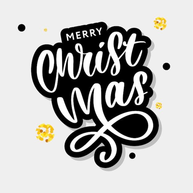 Merry christmas kalligrafische inscriptie versierd met gouden sterren en kralen Premium Vector