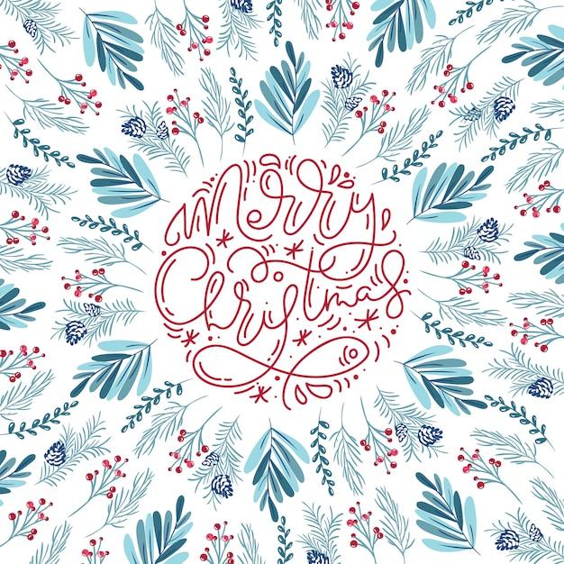 Merry christmas kalligrafische letters achtergrond Premium Vector
