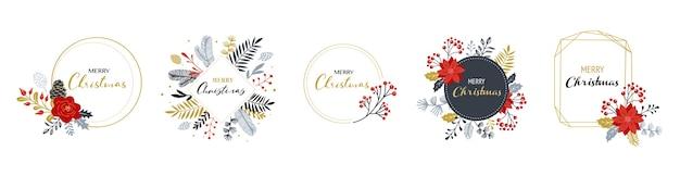 Merry christmas-logo's, hand getrokken elegante, delicate monogrammen geïsoleerd op wit Premium Vector