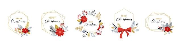 Merry christmas-logo's, hand getrokken elegante, delicate monogrammen geïsoleerd Premium Vector
