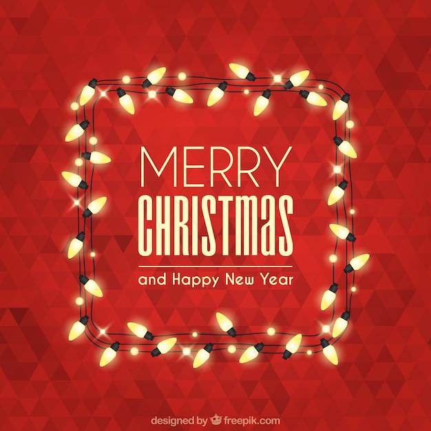 Merry En: Merry Christmas Met Veelhoekige Achtergrond En Verlichting