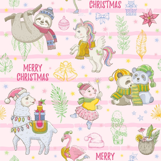 Merry christmas naadloze achtergrond. schattige cartoon dieren. tropisch patroon met luiaard, lama, panda Premium Vector
