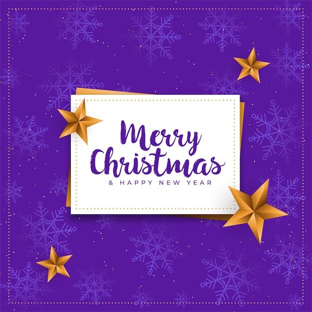 Merry christmas paarse kaart met gouden sterren achtergrond Gratis Vector