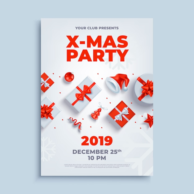 Merry christmas party lay-out poster poster of sjabloon folder. Premium Vector