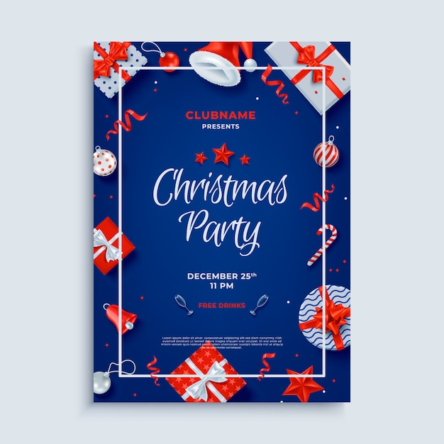 Merry christmas party lay-out poster sjabloon Premium Vector