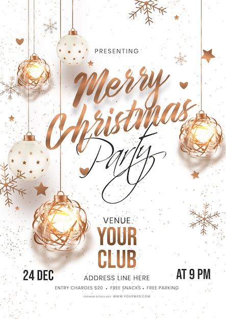 Merry christmas party uitnodigingskaart met hangende kerstballen, sterren en sneeuwvlokken versierd op wit met locatie details. Premium Vector