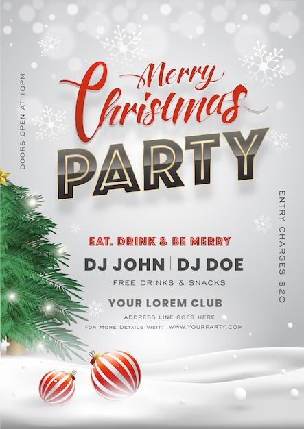 Merry christmas party uitnodigingskaart met kerstboom, kerstballen en gebeurtenisdetails Premium Vector