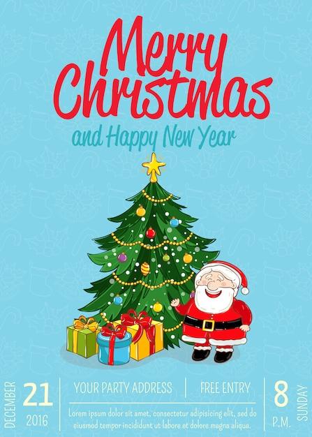 Merry christmas plakkaat voor holiday party ad Premium Vector